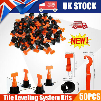 50pcs Tile Leveling System Kits Leveler Tile Spacer Wall Floor Tool Construction • 9.99£