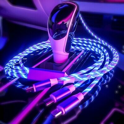 3 In 1 LED Flowing Light Up Charge Cable For IPhone / Samsung / Type C / Android • 3.99£