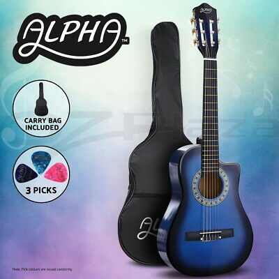 """AU63.95 • Buy Alpha 34"""" Inch Guitar Classical Acoustic Cutaway Wooden Kids Gift 1/2 Size Blue"""