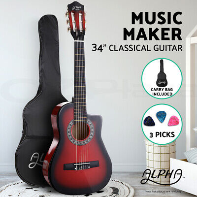 "AU57.90 • Buy Alpha 34"" Inch Guitar Classical Acoustic Cutaway Wooden Kids Gift 3/4 Size Red"