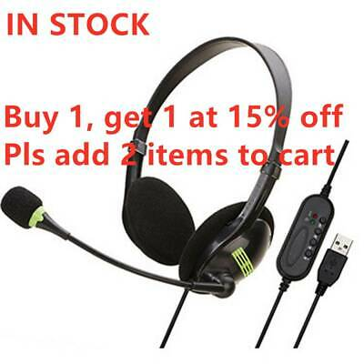USB Headphones With Microphone Noise Cancelling For Skype PC Laptop NEW • 9.59£