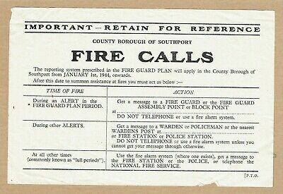 Rare 1944 WWII Fire Calls Leaflet, Southport, Lancashire • 5.99£