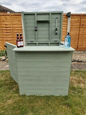 6x4 GARDEN BAR SHED OUTDOOR WOODEN DRINKS HATCH PATIO SHIPLAP TIMBER WOOD STORE • 400£