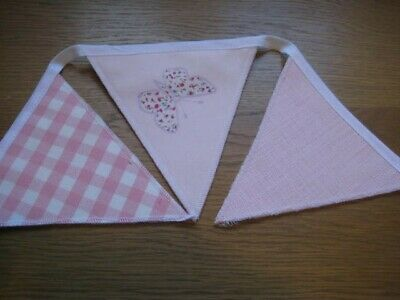 Laura Ashley  Bella Butterfly/bacall/gingham Pink   Handmade Bunting 10 Flags • 19.95£