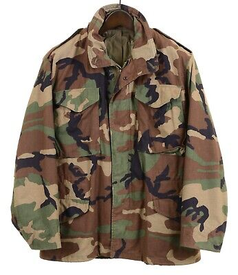 $85 • Buy Golden Mfg US ARMY M-65 Camouflage Cotton Blend Woodland Military Field Jacket L