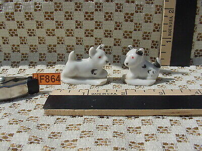 $4.33 • Buy 2 White & Black Dog Miniature Figurines Unknown Breed Vtg JAPAN? 1.375x1+inches