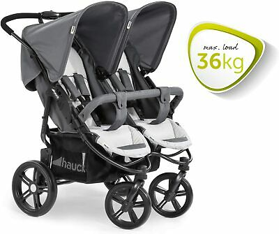 Hauck Roadster Duo SLX Twin Double Buggy Pushchair Pram Silver Grey+Raincover • 209.99£
