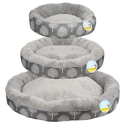 Me & My Pets Soft Grey Washable Dog/puppy/cat Bed Warm Cosy Round Cushion S/m/l • 9.99£