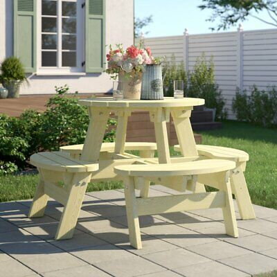 8 Person Outdoor Round Garden Picnic Bench Seats Set Table Furniture Timber Wood • 308.97£
