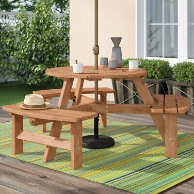 6 Person Outdoor Round Garden Picnic Bench Table Wood Parasol Hole UV Resistant  • 208.97£