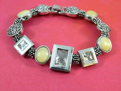 $ CDN10.87 • Buy Lia Sophia Bracelet Silver Tone Clear Crystals Yellow Moonglow 7.25 Inches