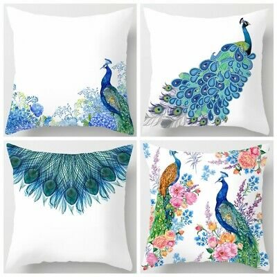 Peacock Blue White PILLOW COVER Home Decor Soft Bed 2-Sided Cushion Case 18x18   • 5.97£
