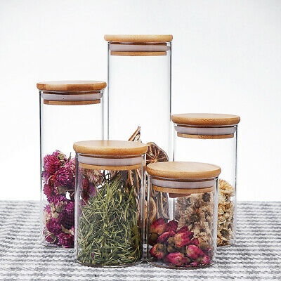 Clear Glass Jar Sealed Canister Food Storage Container With Stopper Lid • 6.62£