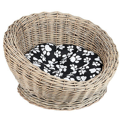 £34.99 • Buy Me & My Woven Wicker Cat/kitten Round Pet Bed/basket/igloo Washable Grey Cushion