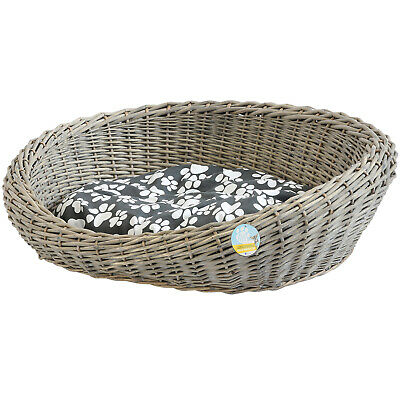 £46.99 • Buy Me & My Pets Oval Woven Wicker Pet Bed Basket Dog/puppy Sofa Washable Cushion
