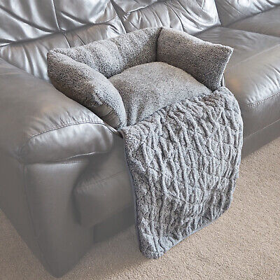 Small Quilted Grey Fleece Fold Out Pet Bed Cat/Dog Sofa/Couch/Chair Protector • 12.99£