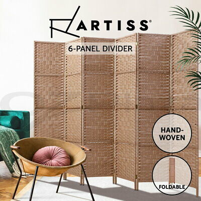 AU125.95 • Buy Artiss 6 Panel Room Divider Screen Privacy Rattan Timber Dividers Stand Natural