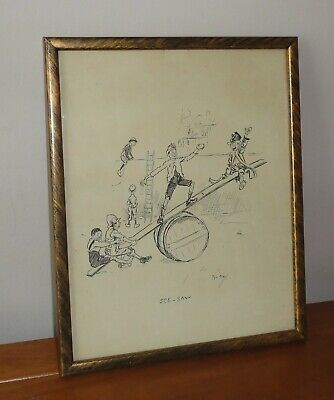 SEE-SAW  - 1896 PHIL MAY Gutter-Snipes 1896 Victorian Cartoon FRAMED • 24.99£