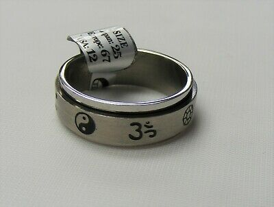 $9.99 • Buy Stainless Steel Spinner Ring Yin Yang Pattern Thumb Ring Band Unisex Size 12