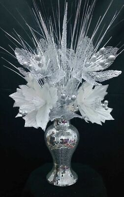 Mosaic Romany Diamante Mirror Vase White & Silver Flower  Home Decor Gift 31cm_ • 29.99£
