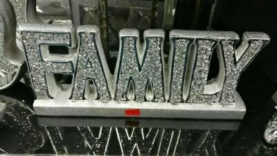 £22.99 • Buy Crushed Crystal Diamond Silver FAMILY Sign Ornament,home Decor Shelf Sitter NEW_