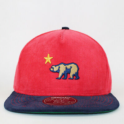 Official Snapback Cap CALI Dolo Corduroy Red / Navy Bear Patch Flat Cap • 10£