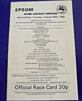 £2.25 • Buy Epsom Race Card August 26th, 1980 - Bank Holiday Meeting Second Day