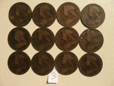 $14.99 • Buy Lot Of 12 Queen Victoria Veil One Penny Coins Of England - Lot 3