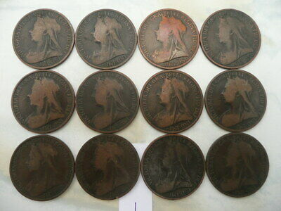 $14.99 • Buy Lot Of 12 Queen Victoria Veil One Penny Coins Of England - Lot 1