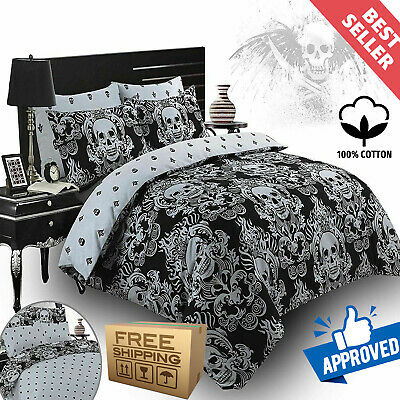 Baroque Skull Duvet Cover Gothic 100% Cotton Bedding Set With Pillowcases • 16.99£
