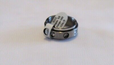 $9.99 • Buy Stainless Steel Spinner Ring Yin Yang Pattern Thumb Ring Band Unisex Size 9 New