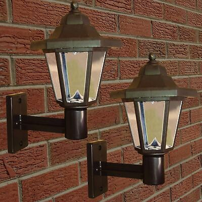 2 X Solar Powered LED Outdoor Garden Fence Wall Lantern Light Lamp New • 17.95£