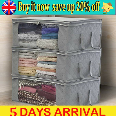 3PCS Underbed Clothes Storage Bags Ziped Organizer Wardrobe Cube Closet Boxes W. • 5.99£