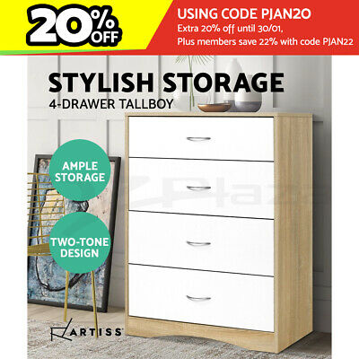 AU146.95 • Buy Artiss Chest Of Drawers Tallboy Dresser Table Bedroom Storage White Wood Cabinet