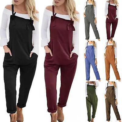 Women Overalls Loose Dungarees Lady Baggy Playsuit Long Jumpsuit Romper Trousers • 11.01£