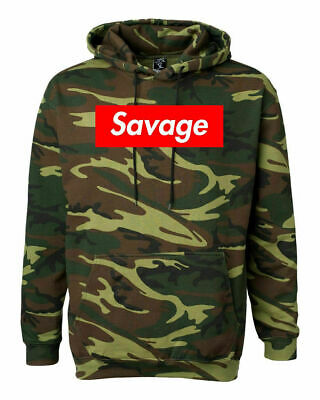 $32.99 • Buy Savage Red Box Logo Camouflage Hoodie Hip Hop Rap Merch Green Woodland Camo
