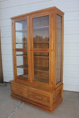 $3495 • Buy Antique Mission Arts & Crafts Solid Oak Stepback Bookcase Showcase Display Unit