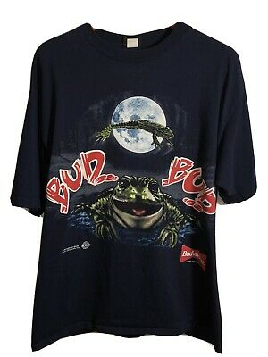 $ CDN90.67 • Buy 1995 Single Stitch Vintage Budweiser Frog Double Sided T Shirt Anheuser Busch A+