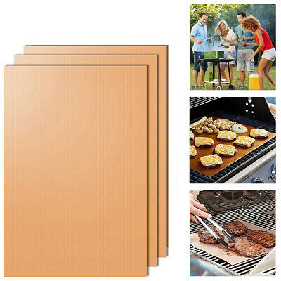 AU9.98 • Buy 5x BBQ Grill Mat Teflon Reusable Sheet Resistant Non-Stick Barbecue Bake Meat GA