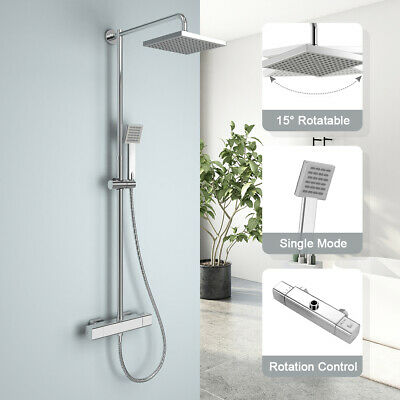 Thermostatic Shower Bar Mixer Valve Bathroom Taps Brass Twin Outlet Chrome BT012 • 42.99£