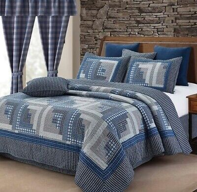 MONTANA LOG CABIN BLUE GRAY COUNTRY PLAID CHECK 3P QUILT SET AND/OR 5PC Curtains • 21.42£