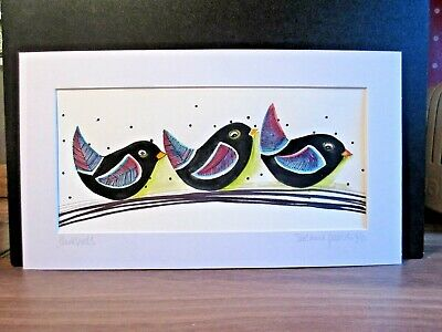 Blackbirds. An Original Watercolour And Pen Painting By Suzanne Patterson. • 18£