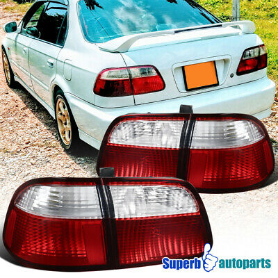 $107.98 • Buy For 1999-2000 Honda Civic Sedan Red Clear Tail Lights Brake Lamps Replacement