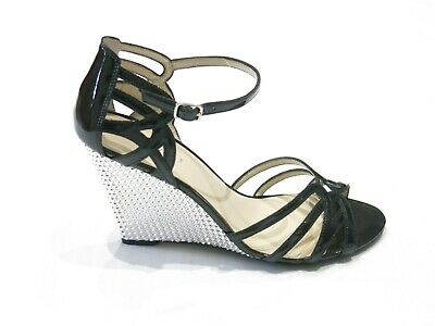 AU44.99 • Buy Nine West Womens Shoes Wedge Heel Black Sparkle Silver Peep Toe Strappy Size 7.5