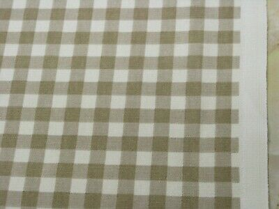 A Cotton Curtain Fabric Taupe Gingham Check Soft Furnishing Cc16d • 5.50£