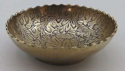 Trinket Dish Vintage Etched Indian Brass Plated Ornate Bowl Scalloped Edge India • 8.99£