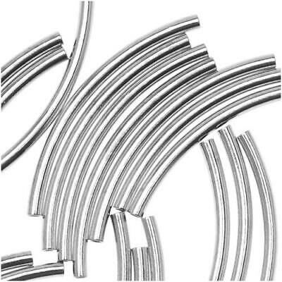$6.25 • Buy Silver Plated Curved Noodle Tube Beads 1.5 X 20mm (50)