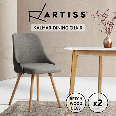 AU145.95 • Buy Artiss 2x Replica Dining Chairs Beech Wooden Timber Chair Kitchen Fabric Grey