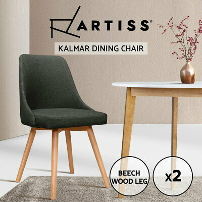 AU125.95 • Buy Artiss 2x Replica Dining Chairs Beech Wooden Chair Cafe Kitchen Fabric Charcoal
