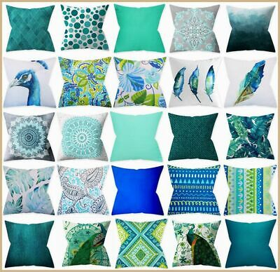 Cushion Cover Teal Peacock Blue Decorative Turquoise Throw Pillow Case 18x18  US • 5.97£